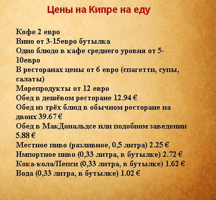 Цены Кипра, еда, национальные блюда кипрской кухни
