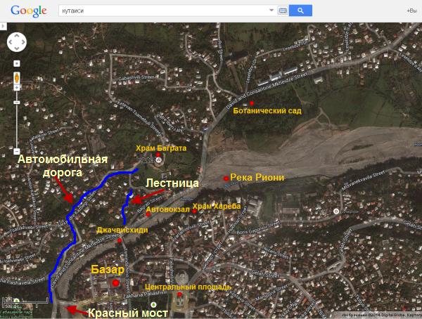 Как добраться до храма Баграта. Карта - схема